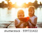 two sisters sharing on slice of ... | Shutterstock . vector #559721422