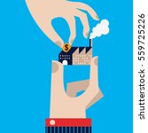 a hand holding a factory gets a ... | Shutterstock .eps vector #559725226