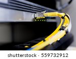 fiber optic cable plugged to... | Shutterstock . vector #559732912