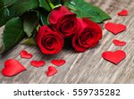 Red Roses  With  Hearts  On A...