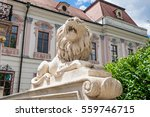 Lion statue at the royal palace in Godollo, Hungary