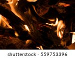 Abstract Fire Flames On Black...