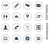 set of 16 simple social icons.... | Shutterstock . vector #559754452