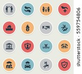 set of 16 simple warrant icons. ... | Shutterstock . vector #559754806