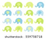 Stock vector cute baby elephant set vector elephants with patterned ears blue and green 559758718