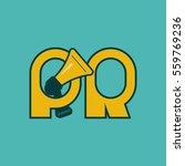megaphone and letters pr logo