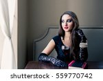 beautiful girl in the cafe | Shutterstock . vector #559770742