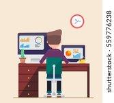 man working on computer laptop... | Shutterstock .eps vector #559776238