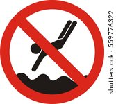 no diving and jumping sign on... | Shutterstock .eps vector #559776322