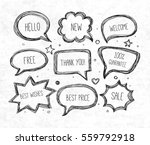 hand drawn speech and thought...   Shutterstock .eps vector #559792918