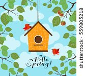 hanging birdhouse with a hole... | Shutterstock .eps vector #559805218