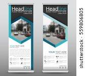 blue hexagon roll up business... | Shutterstock .eps vector #559806805