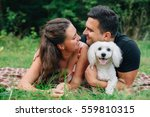 young happy couple in love with ... | Shutterstock . vector #559810315