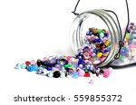 beads in glass jars for... | Shutterstock . vector #559855372