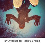 a person with a reflection is... | Shutterstock . vector #559867585