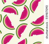 seamless pattern with watermelon | Shutterstock .eps vector #55987090