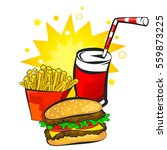 burger  potatoes and drink fast ... | Shutterstock .eps vector #559873225