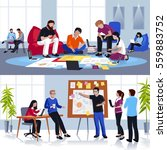 coworking people flat... | Shutterstock .eps vector #559883752
