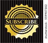 subscribe golden badge | Shutterstock .eps vector #559907302