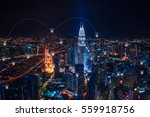 blue tone cityscape at night... | Shutterstock . vector #559918756