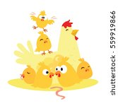 cute cartoon chicken and... | Shutterstock .eps vector #559919866