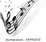 vector musical notes staff... | Shutterstock .eps vector #55992073