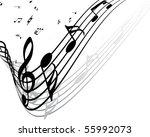 vector musical notes staff...   Shutterstock .eps vector #55992073