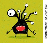 cute black monster with... | Shutterstock .eps vector #559924552