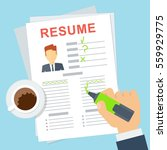 resume writing concept. sheet... | Shutterstock .eps vector #559929775