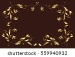gold frame. floral swirls and... | Shutterstock .eps vector #559940932