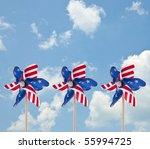 Patriotic American Pinwheel - stock photo