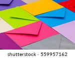 different colored envelopes on... | Shutterstock . vector #559957162