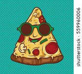 pizza geek mascot illustration. ... | Shutterstock .eps vector #559960006