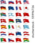 set of flags. glossy buttons.... | Shutterstock .eps vector #55996726