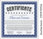 blue certificate diploma or... | Shutterstock .eps vector #559970926