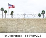 wall with secure barbed wire... | Shutterstock . vector #559989226