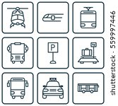 set of 9 transportation icons.... | Shutterstock .eps vector #559997446
