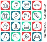 set of 16 holiday icons.... | Shutterstock .eps vector #560000062