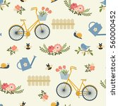 spring floral seamless... | Shutterstock .eps vector #560000452