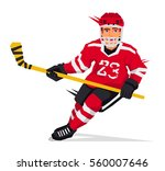 hockey player with a stick in... | Shutterstock .eps vector #560007646