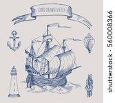 old caravel  vintage sailboat.... | Shutterstock .eps vector #560008366