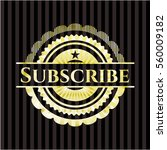 subscribe gold shiny badge | Shutterstock .eps vector #560009182