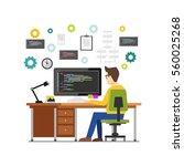 professional programmer working ... | Shutterstock .eps vector #560025268