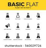 basic set of flasks  broken... | Shutterstock .eps vector #560029726
