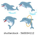 cute dolphin cartoon collection ... | Shutterstock .eps vector #560034112