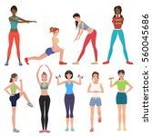 sport fitness healthy girls set.... | Shutterstock .eps vector #560045686
