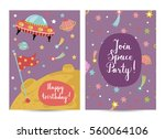 happy birthday cartoon greeting ... | Shutterstock .eps vector #560064106