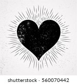 heart symbol and sunburst grunge isolated background