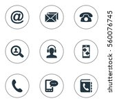 set of 9 simple contact icons.... | Shutterstock .eps vector #560076745