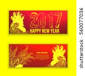 beautiful banner with a rooster ... | Shutterstock .eps vector #560077036